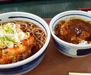 海老名SAかき揚げ蕎麦とミニそぼろごはん